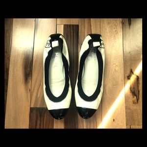Chanel, white and black patent leather, flats